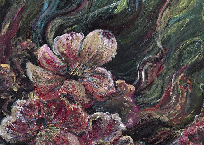 Flowers Greeting Card featuring the painting Textured Pink Petals by Nadine Rippelmeyer