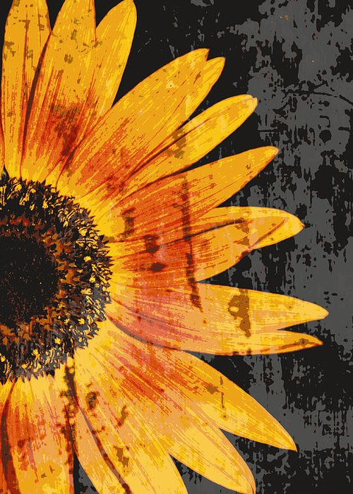 Sunflowers Greeting Card featuring the photograph Textured Sunflower by Cathie Tyler