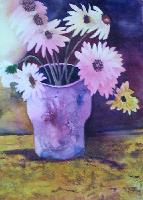 Floral Greeting Card featuring the painting Textured Vase by Audrey Bunchkowski