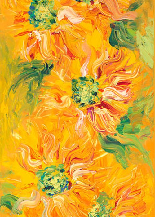 Yellow Greeting Card featuring the painting Textured Yellow Sunflowers by Nadine Rippelmeyer