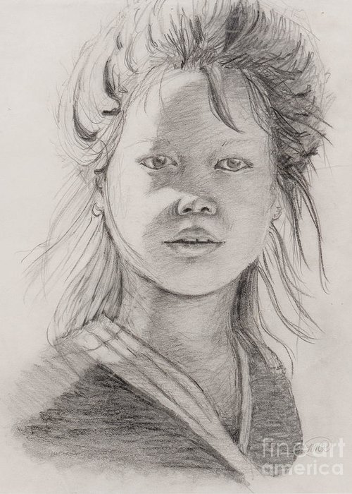 Portrait Greeting Card featuring the drawing Thai Beauty by Nadine Rippelmeyer