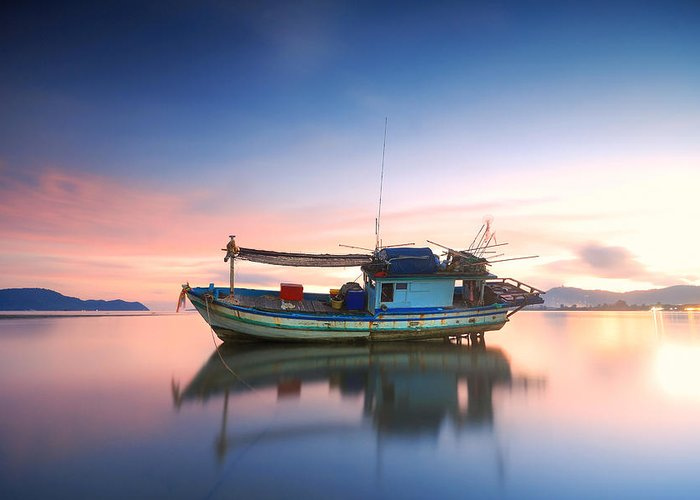 Beach Greeting Card featuring the photograph Thai Fishing Boat by Teerapat Pattanasoponpong