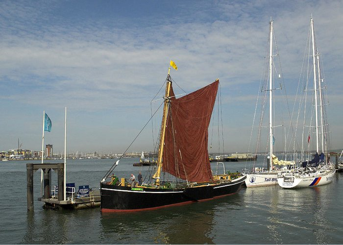 Thames Greeting Card featuring the photograph Thames Sailing Barge 'alice' by Hazy Apple