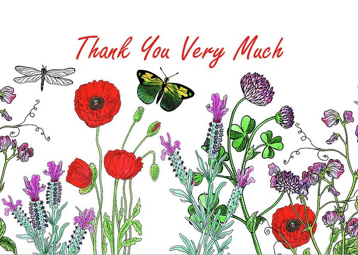 c51a9f9c8e924 Butterfly Greeting Card featuring the painting Thank You Card Watercolor  With Flowers Butterflies And Dragonflies by