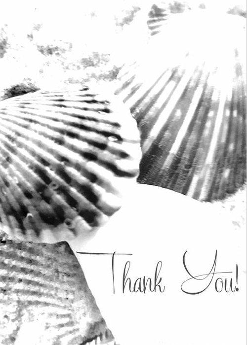 Greeting Greeting Card featuring the digital art Thank You Seashell by Rachel Hannah