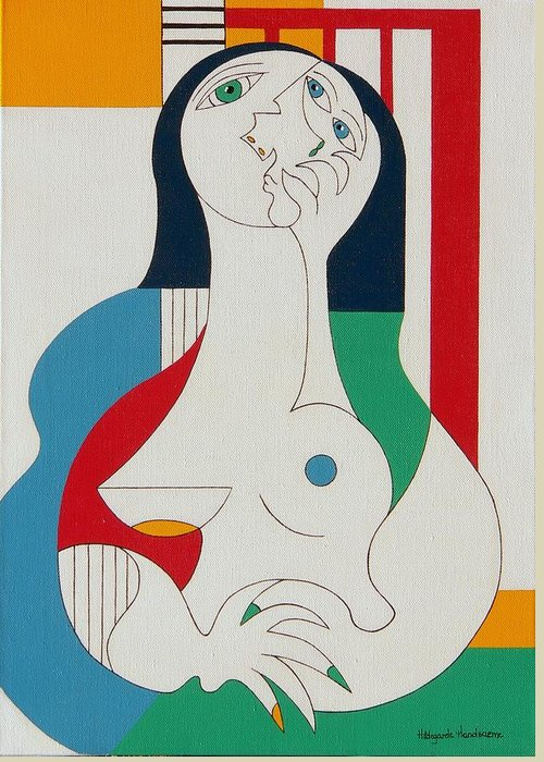 Women Fingers Nails Modern Humor Greeting Card featuring the painting Thanks by Hildegarde Handsaeme