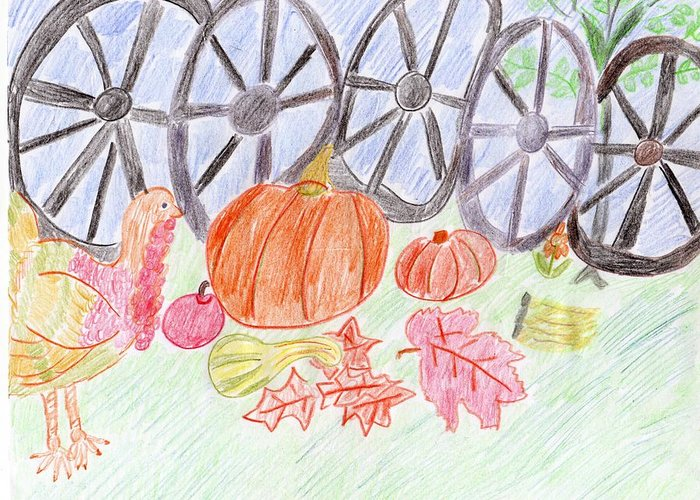 Thanksgiving Greeting Card featuring the drawing Thanksgiving At The Wagon Wheel Fence by Rosemary Mazzulla