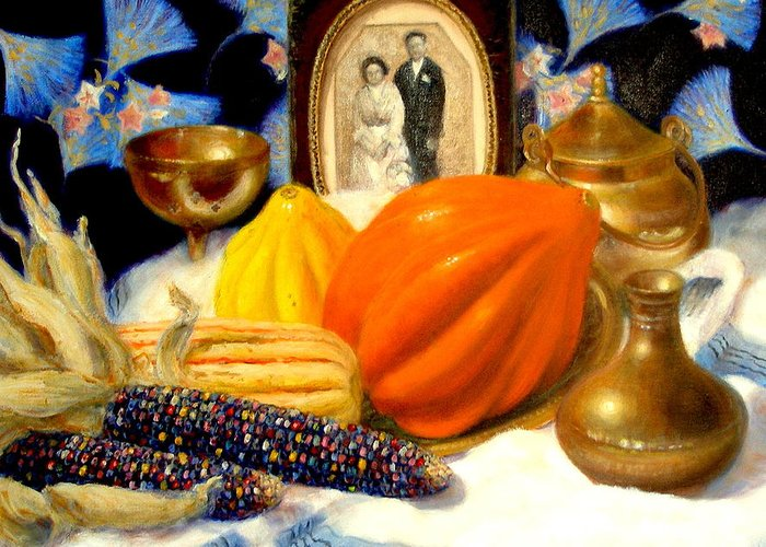 Realism Greeting Card featuring the painting Thanksgiving Of The Past by Donelli DiMaria