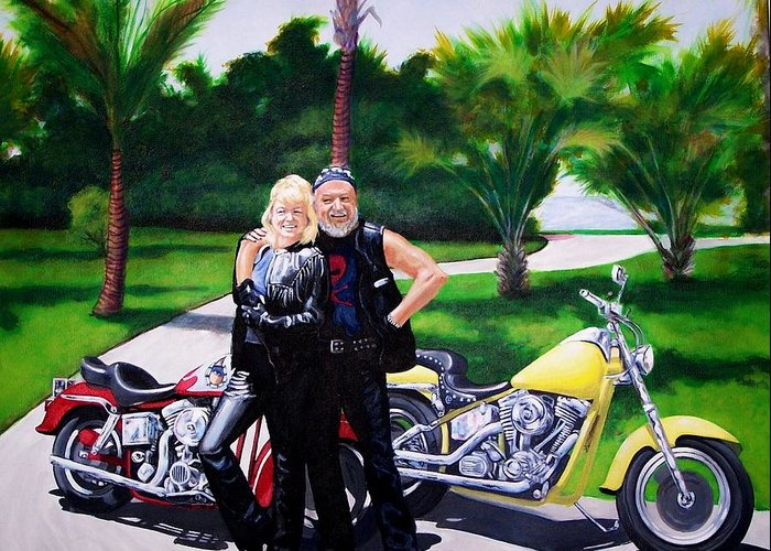 Portrait. Motorcylces Greeting Card featuring the painting That Loving Feeling by Charles Peck