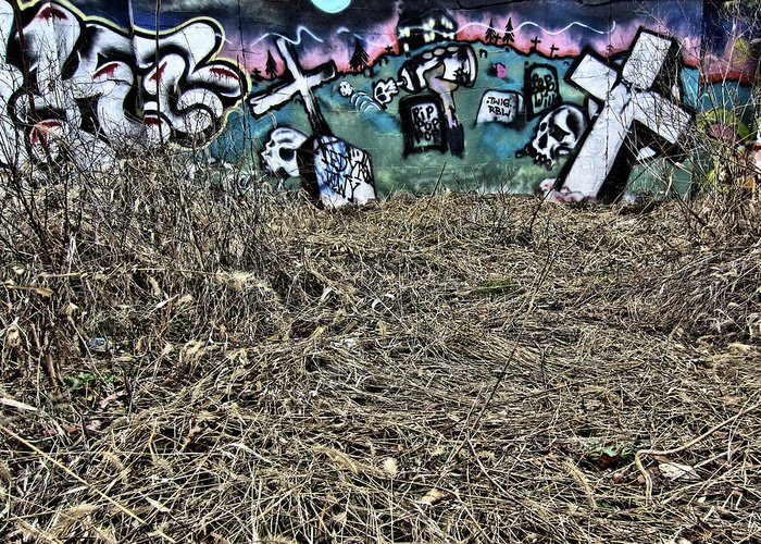 Graffiti Greeting Card featuring the photograph That Old Rugged Cross, 2013 by Wayne Higgs
