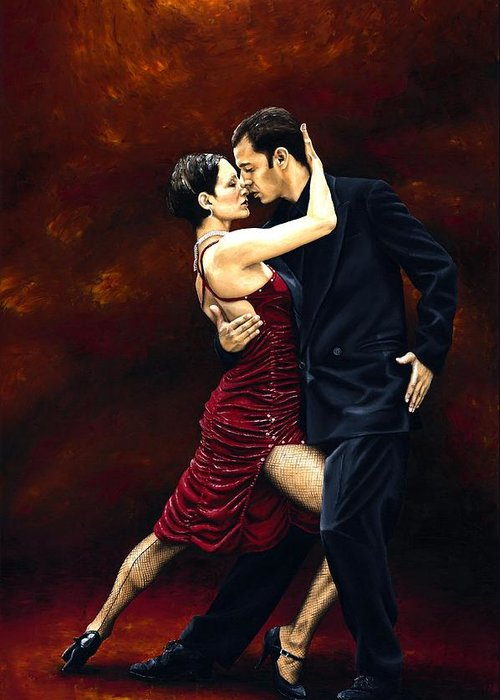 Tango Greeting Card featuring the painting That Tango Moment by Richard Young