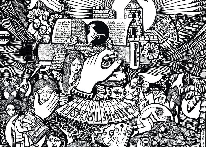 Drawing Greeting Card featuring the drawing That We Die Is What Living Means by Jose Alberto Gomes Pereira