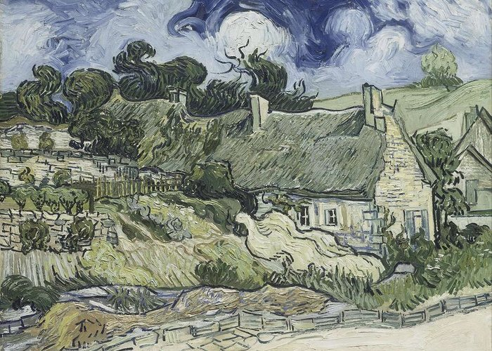 Art Greeting Card featuring the painting Thatched Cottages At Cordeville by Artistic Panda