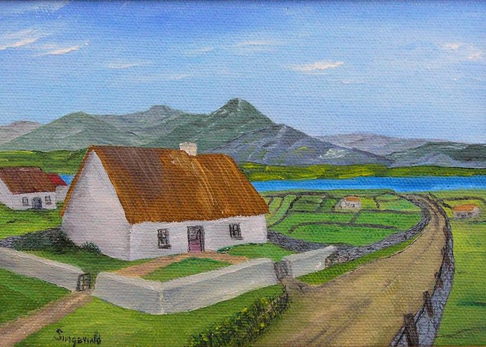 Irish Scene Greeting Card featuring the painting Thatched House 2 by Cary Singewald