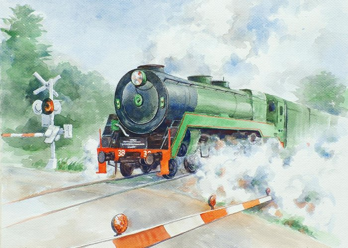 Watercolor Greeting Card featuring the painting The 3830 At Robertson by Ekaterina Mortensen
