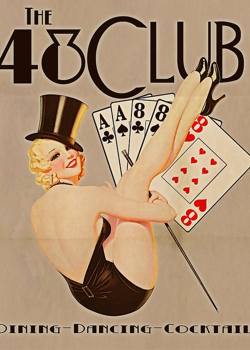 Vintage Greeting Card featuring the digital art The 48 Club by Cinema Photography