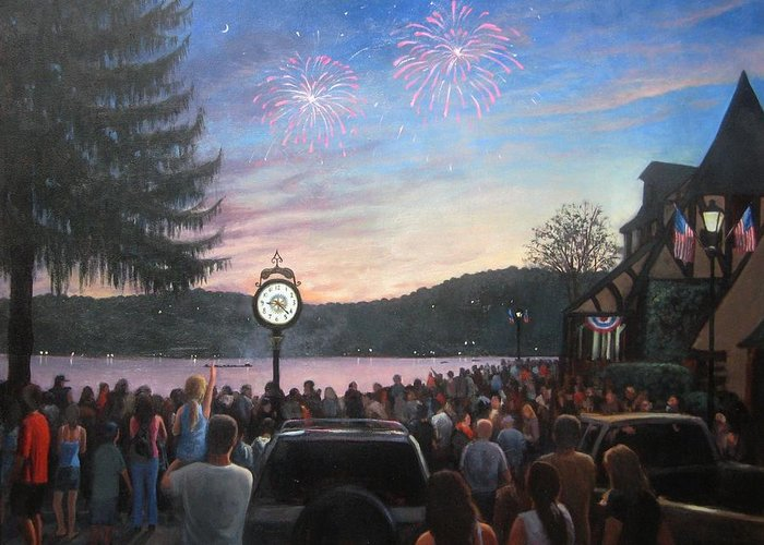 Lake Mohawk Greeting Card featuring the painting the 4th of July on Lake Mohawk by Tim Maher