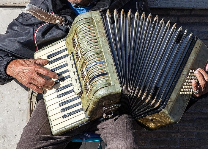 Italy Greeting Card featuring the photograph The Accordionist by Al Hurley