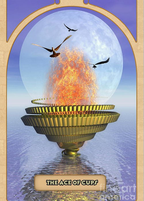 Magic Greeting Card featuring the digital art The Ace Of Cups by John Edwards
