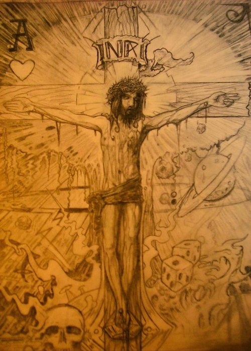 Jesus Greeting Card featuring the drawing The Ace Of Hearts by Will Le Beouf