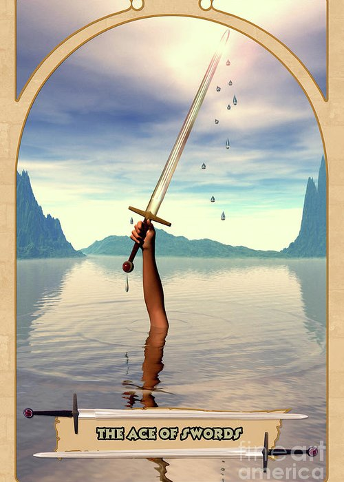Magic Greeting Card featuring the digital art The Ace Of Swords by John Edwards