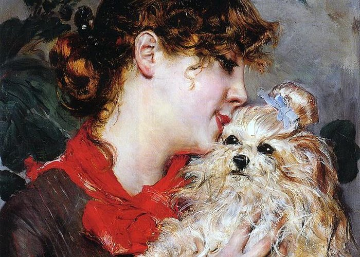 The Actress Rejane And Her Dog Greeting Card featuring the painting The Actress Rejane And Her Dog by Giovanni Boldini