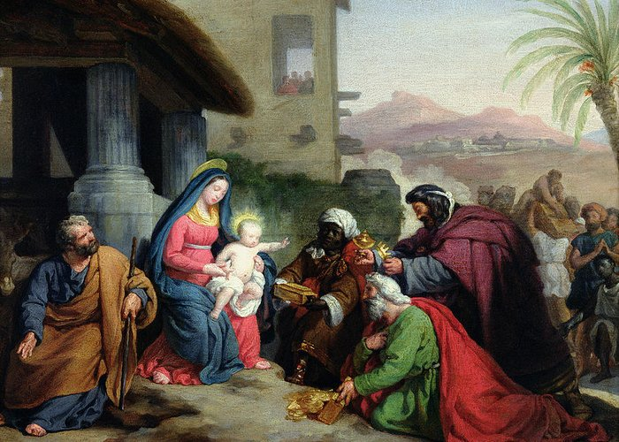 The Greeting Card featuring the painting The Adoration Of The Magi by Jean Pierre Granger