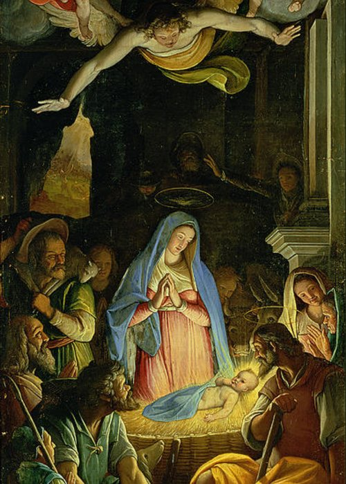 Christmas Greeting Card featuring the painting The Adoration Of The Shepherds by Federico Zuccaro