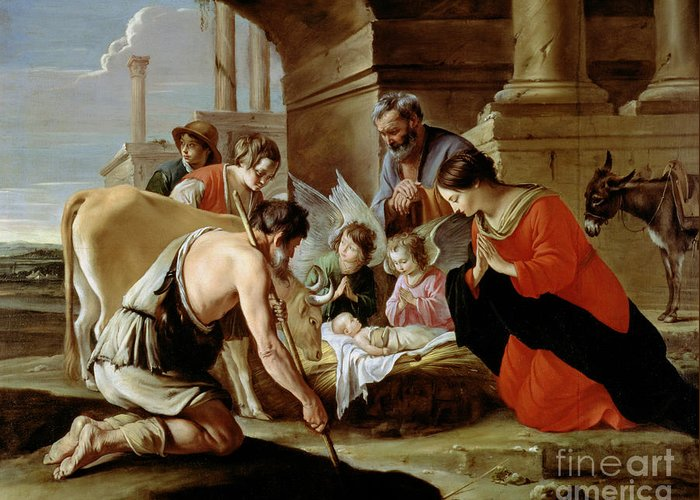Shepherds Greeting Card featuring the painting The Adoration Of The Shepherds by Louis Le Nain