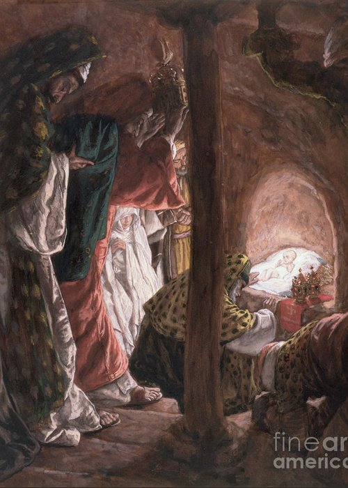 Nativity Greeting Card featuring the painting The Adoration Of The Wise Men by Tissot