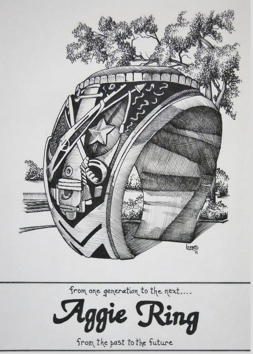 Texas A&m Greeting Card featuring the drawing The Aggie Ring by Barbara Gilroy