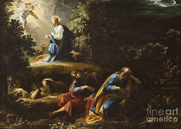 Gethsemane Greeting Card featuring the painting The Agony In The Garden by Guiseppe Cesari