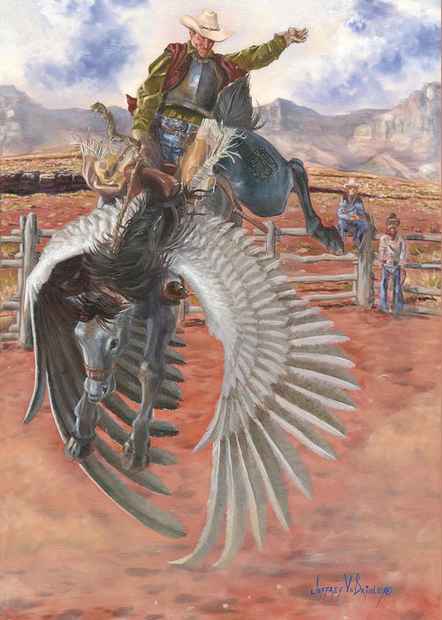 Pegasus Greeting Card featuring the painting The Air Marshal by Jeff Brimley