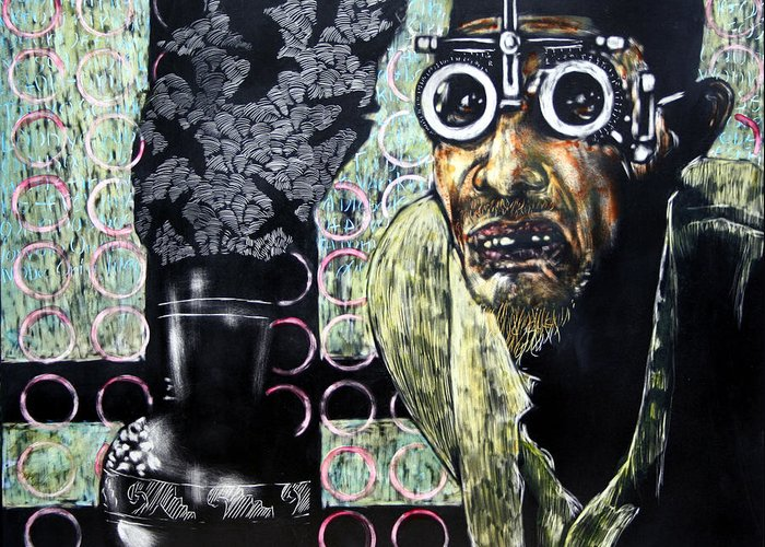 Scratchboard Greeting Card featuring the mixed media The Alchemist by Chester Elmore