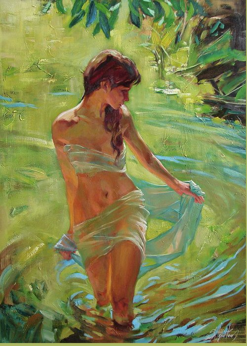 Ignatenko Greeting Card featuring the painting The allegory of summer by Sergey Ignatenko