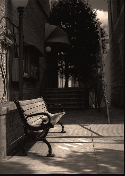 Bench Greeting Card featuring the photograph The Alleyway by Ayesha Lakes