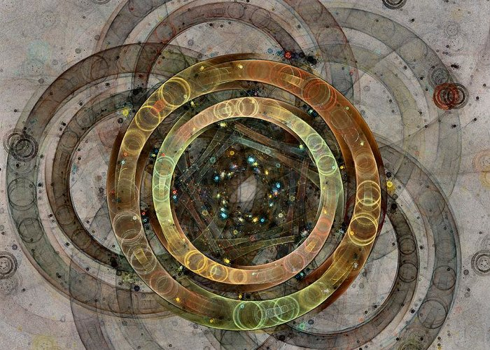 Circles Greeting Card featuring the digital art The Almagest - Homage To Ptolemy - Fractal Art by NirvanaBlues