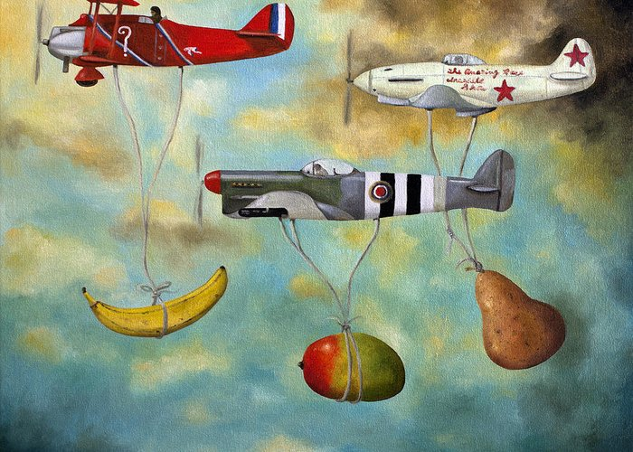 Plane.aircraft Greeting Card featuring the painting The Amazing Race 6 by Leah Saulnier The Painting Maniac