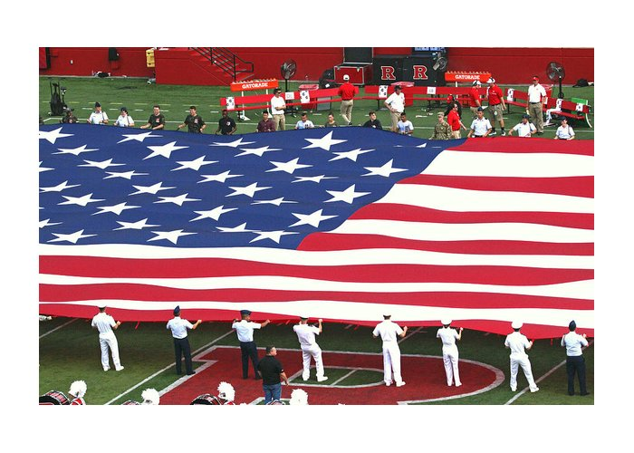 Rutgers Greeting Card featuring the photograph The American Flag by Allen Beatty