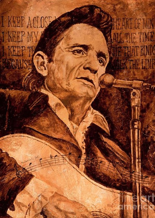 Johnny Cash Greeting Card featuring the painting The American Legend by Igor Postash