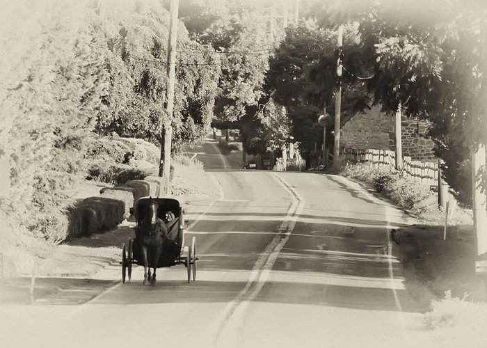 The Amish Buggy Greeting Card featuring the photograph The Amish Buggy by Bill Cannon