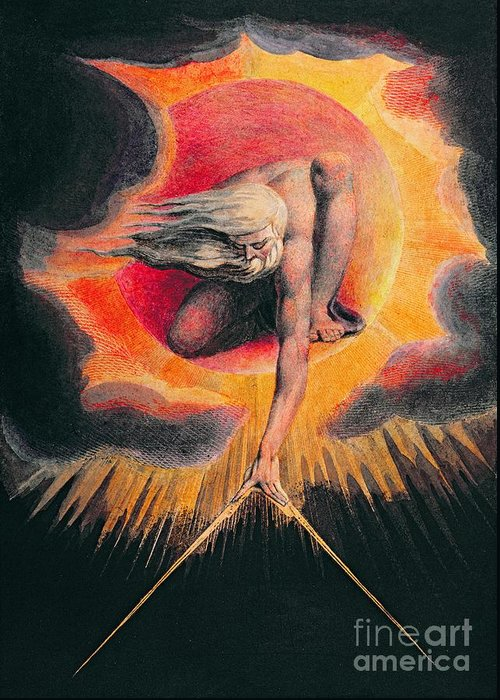 The Greeting Card featuring the painting The Ancient Of Days by William Blake