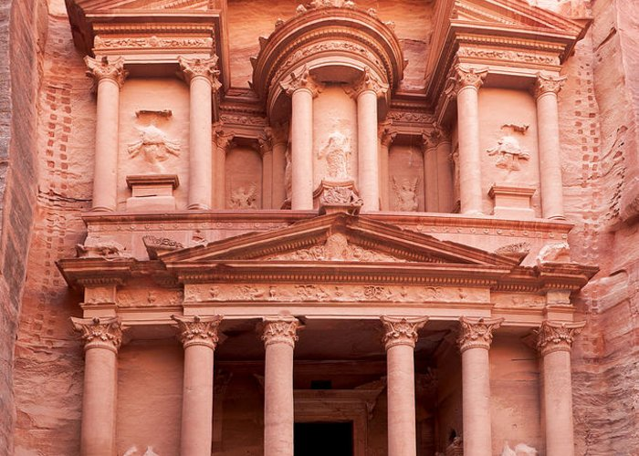 Red Greeting Card featuring the photograph The Ancient Treasury Petra by Jane Rix
