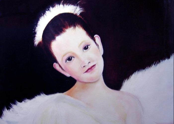 Angel Greeting Card featuring the painting The Angel by Michela Akers