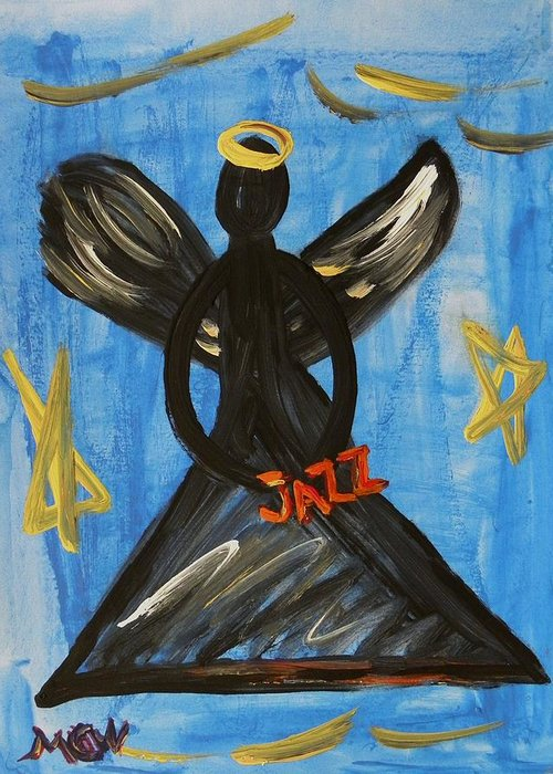 Angel Greeting Card featuring the painting The Angel Of Jazz by Mary Carol Williams