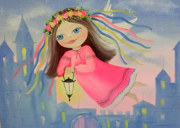 The Angel Of Light Greeting Card featuring the painting The Angel Of Light by Olha Darchuk