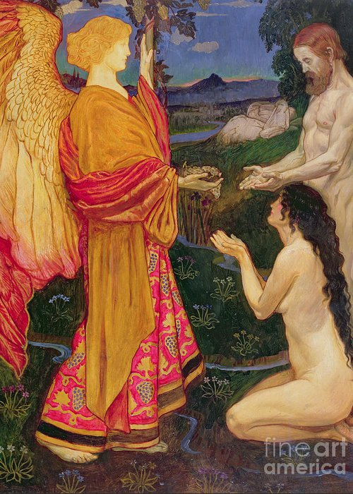 Old Testament; Genesis; Expulsion; Garden Of Eden; Renaissance; Nude; Angel; Punishment Greeting Card featuring the painting The Angel Offering The Fruits Of The Garden Of Eden To Adam And Eve by JBL Shaw