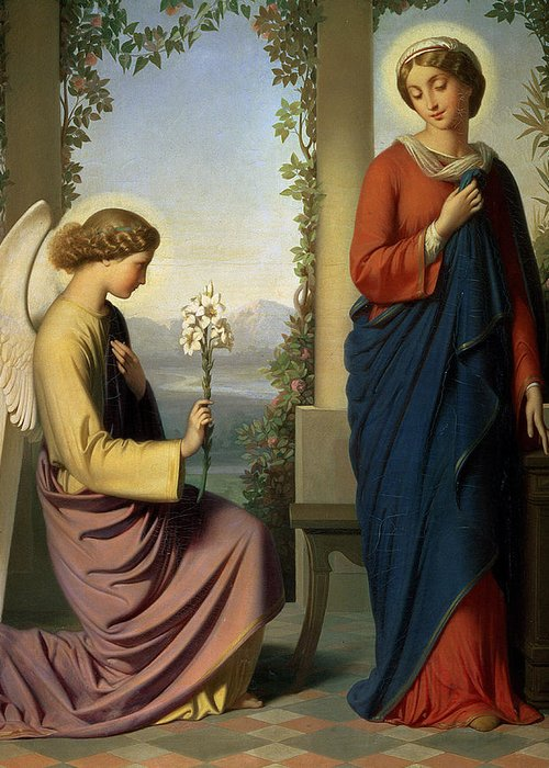 Lily; Angel; Loggia; Spinning; Spindle; School Of Ingres Greeting Card featuring the painting The Angelic Salutation by Eugene Emmanuel Amaury-Duval