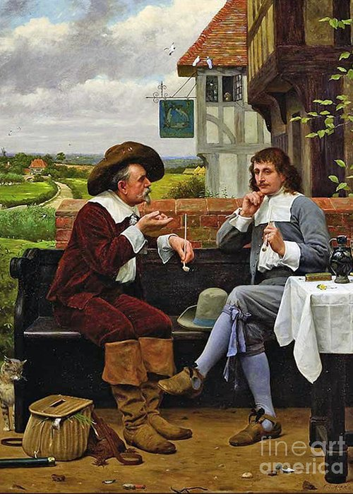 Henry Stacey Marks - The Angler's Rest 1884 Greeting Card featuring the painting The Anglers Rest by MotionAge Designs