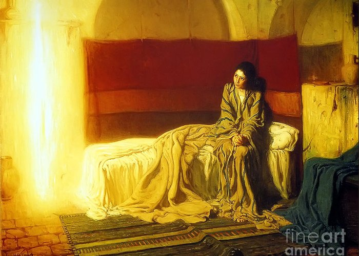 Henry_ossawa_tanner_-_the_annunciation Greeting Card featuring the painting The Annunciation by MotionAge Designs